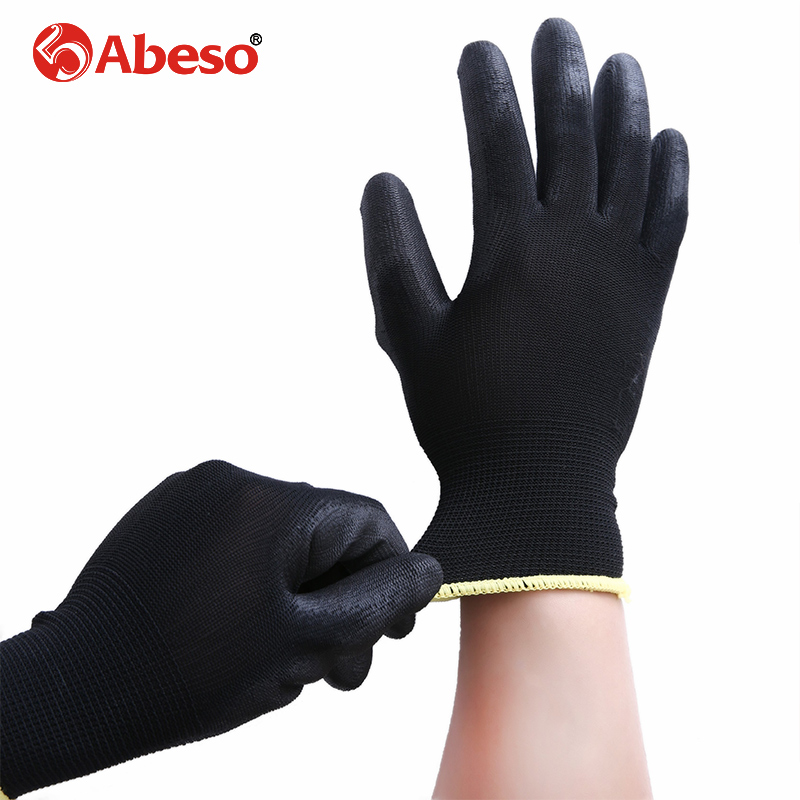 ABESO 2/10 pairs Black Nylon & PU palm coated electronic Anti-static Gloves With PU AntiStatic Work Glove A4005