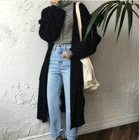 Harajuku Long Cardigan Ladies Spring Fashion Long Knit Sweater Women Large Coat Casual Black Jacket Winter