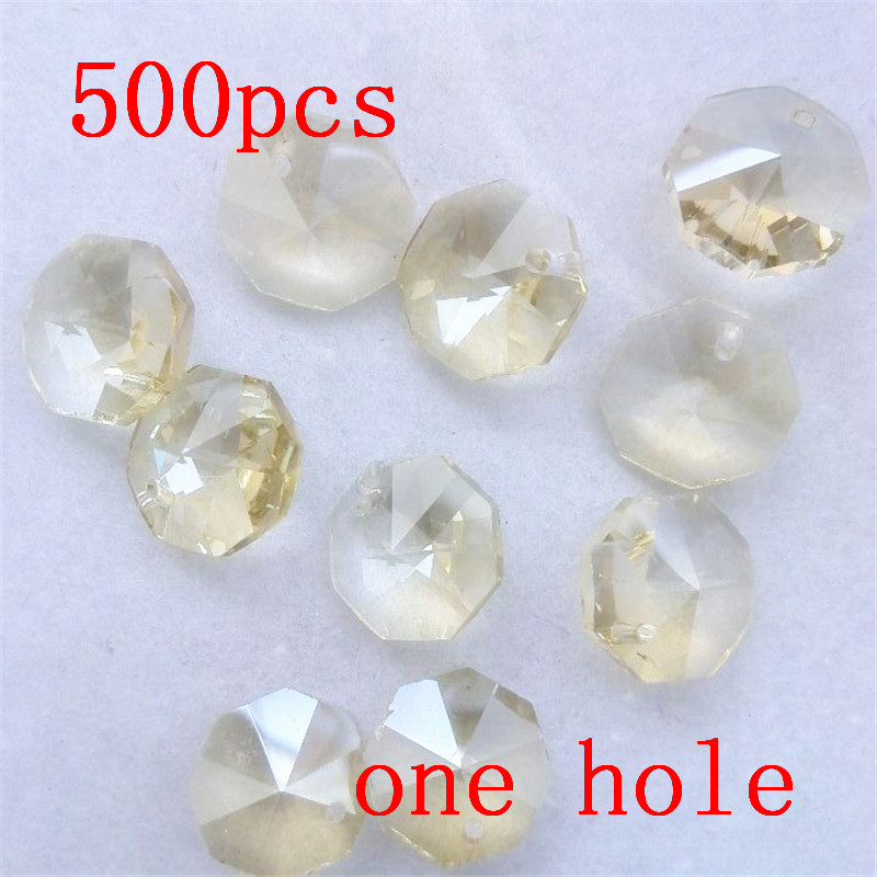 Good Quality 500pcs Cognac Color 14mm Octagon Beads 1 Hole Crystal Chandelier Beads Glass Prism Lighting Suncatcher Diy Beads