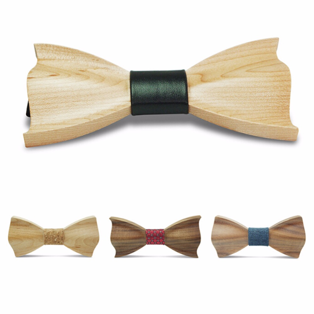 3D New Men Handmade Hardwood Wooden Bow Tie Marriage Wedding Krawatte Bow Ties For Men Butterfly Cravat Wood Bow Tie