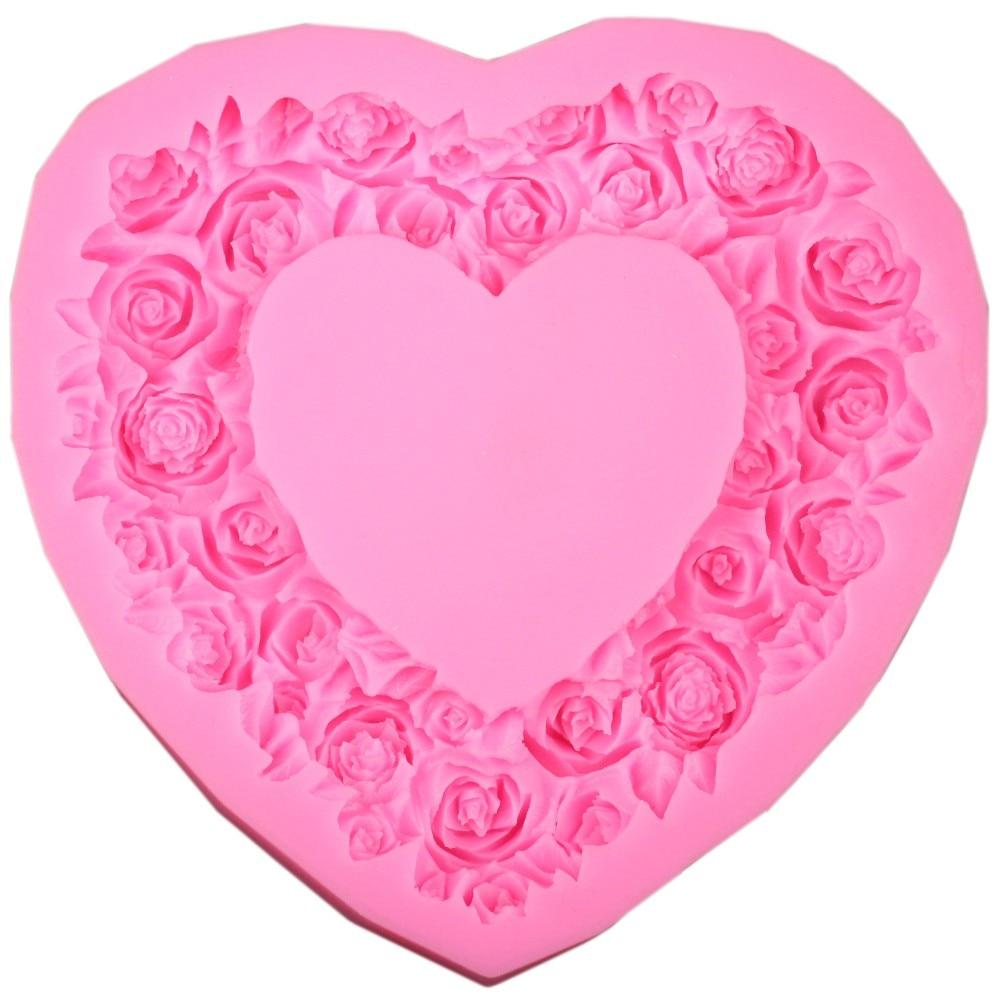 Ecológico de gran tamaño Corazón Rose Flower Molde de pastel de - Cocina, comedor y bar - foto 5