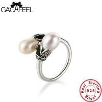 GAGAFEEL 925 Sterling Cruz de Prata Pérola Anéis para Mulheres Moda Jóias de Alta Qualidade Anéis de Festa de Casamento Das Mulheres Do Vintage Dropship