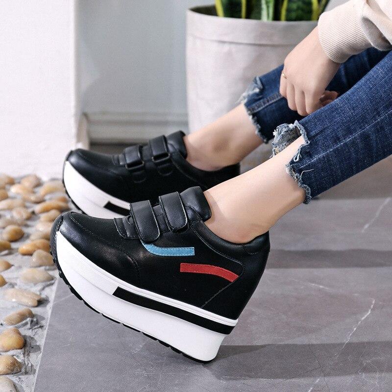 Koreanische Bequeme Flache Casual Retro Version Einfache Schuhe Schwarzes 2018 Herbst Stilvolle weiß Schuhe Der Neue Trend Plattform Frauen XqOzS1O