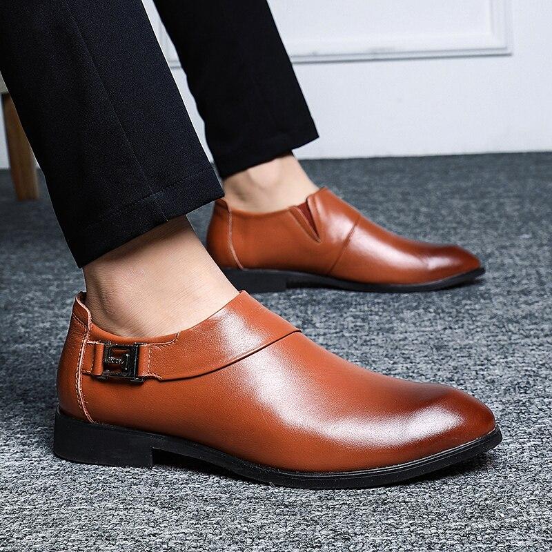 Clássico Couro Vestido Cimim Sapatas Apontou Size38 Casamento Homens Dos 48 Genuínos Do De Marca Black Deslizamento Sapatos brown Sobre Negócio Grande qwPq0