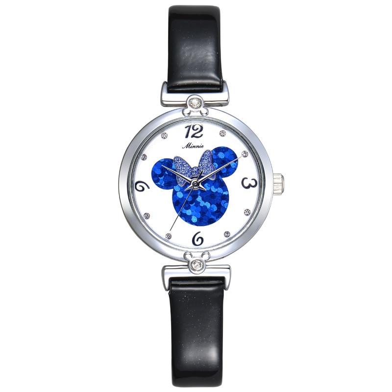 ФОТО ladies watches Disney brand girls Mickey  waterproof Leather Diamond girl watch Cartoon quartz watch relogio clocks