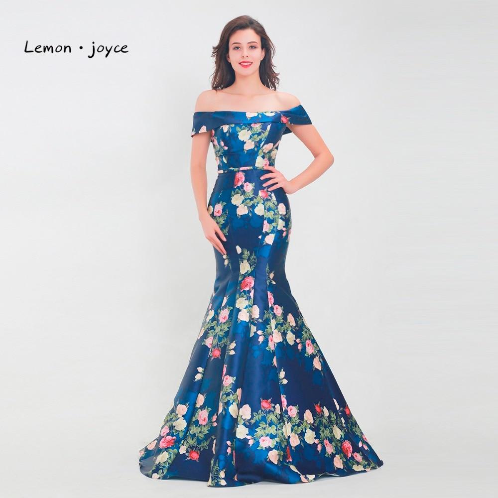 Lemon joyce Vintage Mermaid Evening Dresses 2019 Floral Print Boat Neck Floor Length Long Formal Prom
