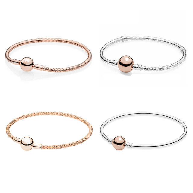 0857d8116 Rose Gold MOMENTS Smooth Mesh Ball Clasp Bracelet Bangle Fit Pandora Snake  Bracelet 925 Sterling Silver Bead Charm Jewelry