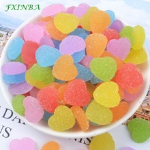 FXINBA 5Pcs/Lot Simulation Candy Heart Charms For Slime Clay Cake DIY Love Phone Decoration Supplies Kit Toys