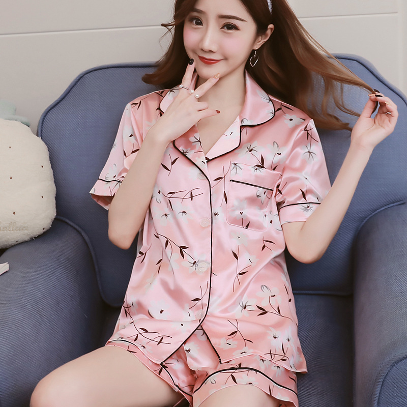 summer print   pajamas   for women half silk home suit   pajamas     set   home clothing sleepwear clothes and short