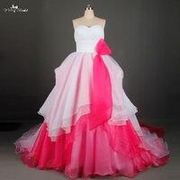 الأبيض و الوردي فستان الزفاف اليابانية مطوي الأورجانزا الأعلى المتناظر هملين] ارتفاع منخفض فساتين الزفاف RSW842