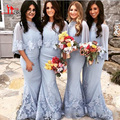 Light Blue Mermaid Bridesmaid Dress with Wraps Sheer High Neck Half Sleeves Lace Appliques Wedding Guest Dress Party Gowns 2016