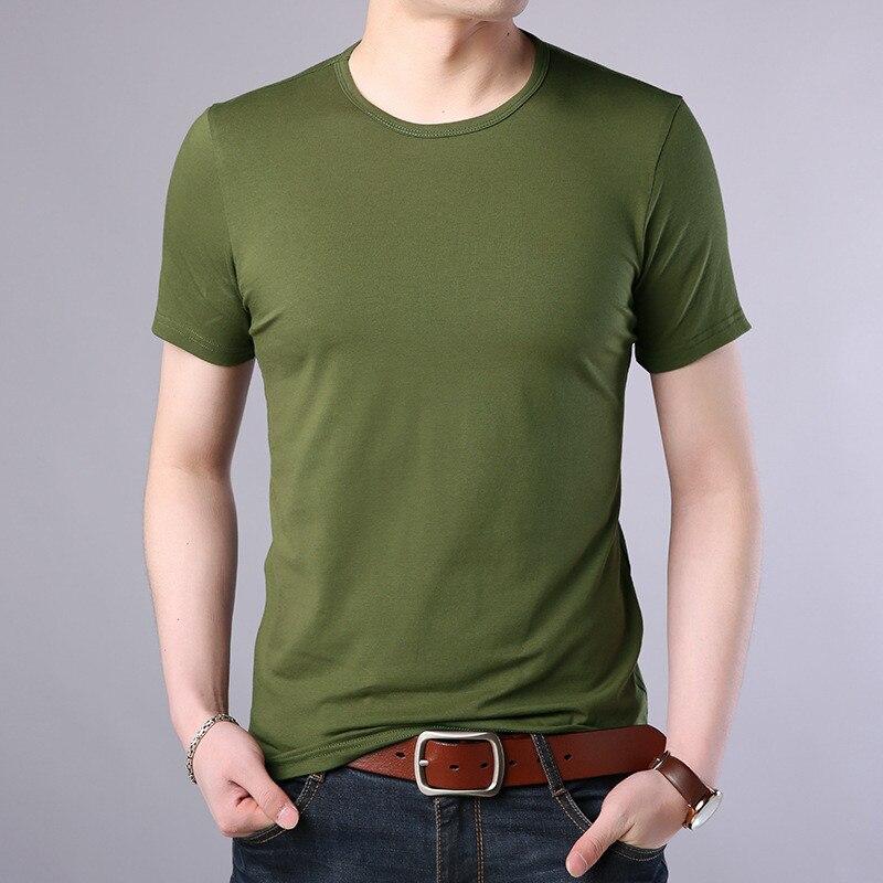 T-shirt à manches courtes pour hommes, col rond, couleur unie, 2019, T-shirt, chemise de fond, vêtements de marée, beau t-shirt