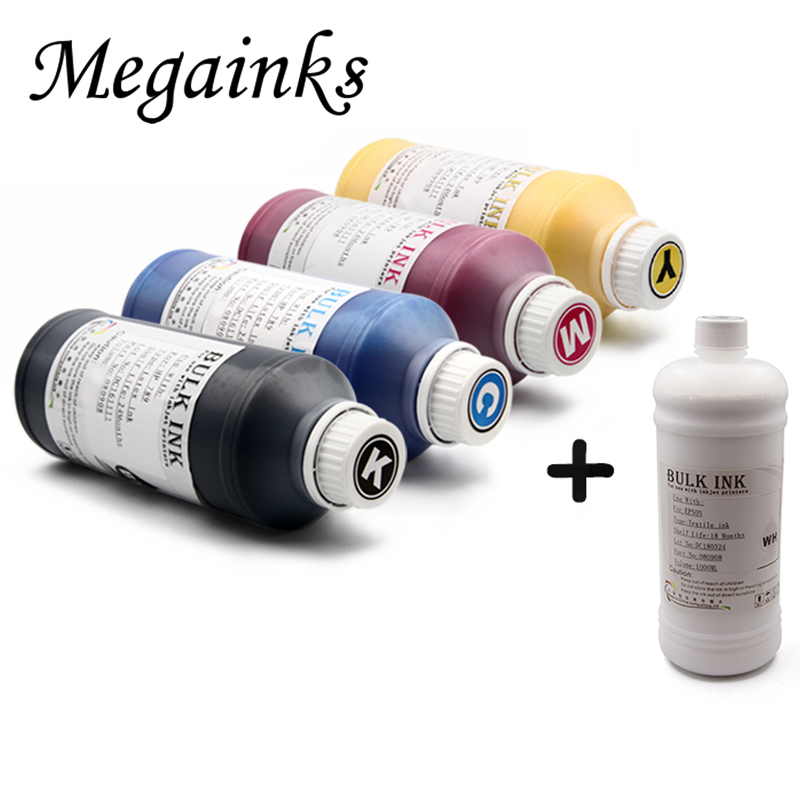 5 Bottle 1000ML DTG Textile Ink for Brother GT-3 Series GT-341 GT-361 GT-381 GT 341 361 381 Digital Inkjet Printer K C M Y White hot sale 1000ml roland mimaki mutoh textile pigment ink in bottle color lc for sale