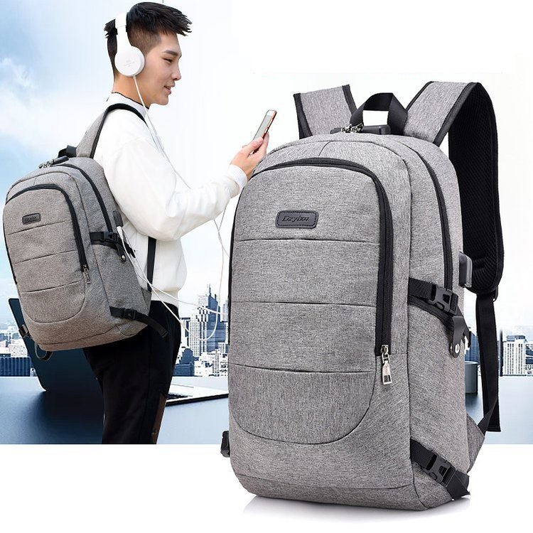 Waterproof Resistant Polyester Laptop Backpack With Usb Charging Port And Lock &headphone Interface For College Student Bagpack #3