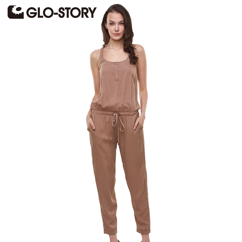 GLO-STORY Brand 2016 Summer Elegant Womens Rompers Jumpsuit Casual Solid Bodysuit Sleeveless Crew Neck Long Playsuits Plus Size