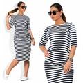 6XL tamanho grande 2016 Verão Vestido Ocasional das mulheres vestidos de listras da Zebra Solta plus size 6xl mulheres de roupas vestido MM Gordura