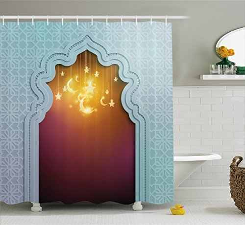 Moroccan Shower Curtain Door with Star and Moon Artistic Style Arabic Words Oriental Design Fabric Bathroom Decor Set with Hooks