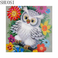 5d Diamond Embroidery Animal Owl 3d Diy Diamond Painting Sets Drill Bead Cross Stitch Square Embroidery