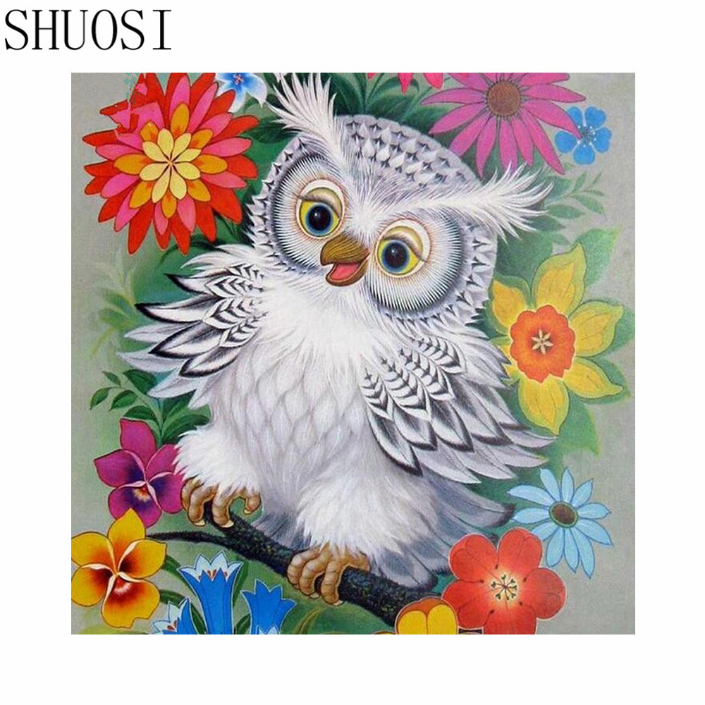 5d diamond embroidery animal owl 3d diy diamond painting sets drill bead cross stitch square embroidery a535