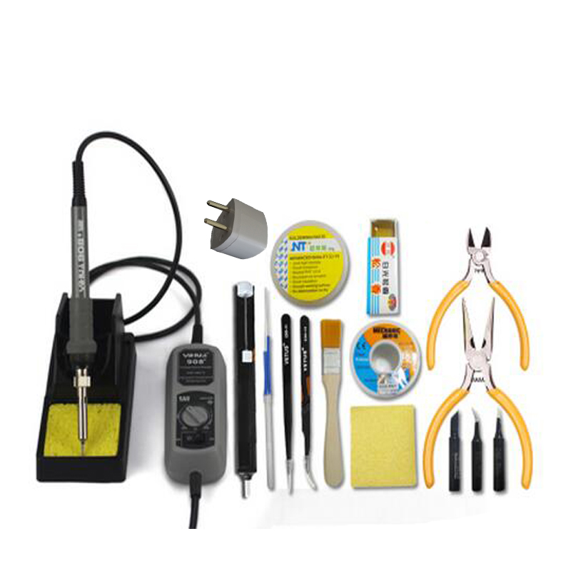 Adjustable Temperature Electric 220V 60W Welding Solder Soldering Iron Tools Soldering Station With Solder Sucker Iron Tips adjustable temperature soldering iron 60w switch welding station tool kit with soldering tips