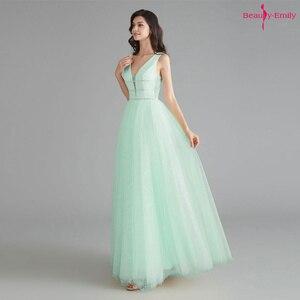 Image 2 - יופי אמילי אלגנטי שושבינה שמלות V צוואר שרוולים פאייטים אפליקציות המפלגה שמלת 2019 ארוך ורוד לנשף שמלות לחתונה
