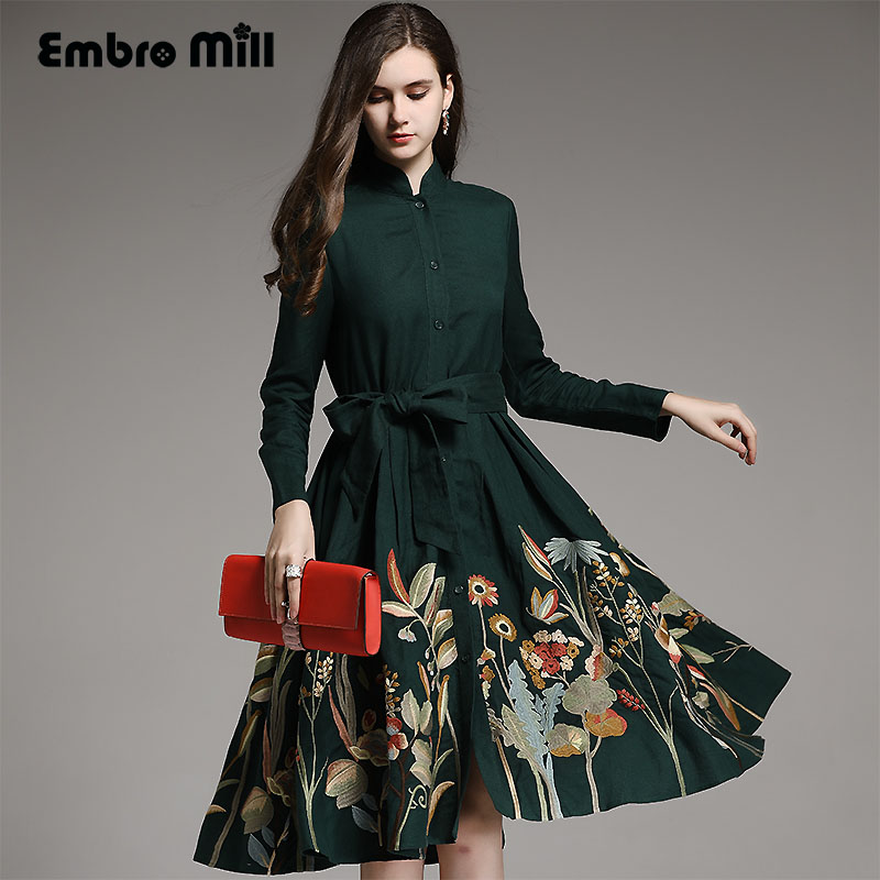 Vintage autumn royal embroidery windbreaker women runway elegant loose lady plus size green ramie   trench   coat female S-XXXL
