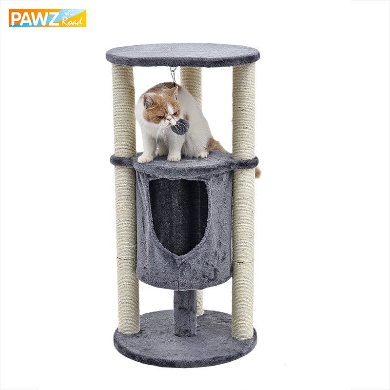 Domestic Delivery Shape Hourglass Cat Scratching&Furniture Kitten Playing With Ball Frame Scratching Post Funny Toy For Kitten