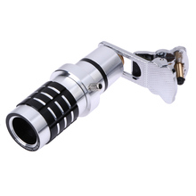 4 in1 180 Degree Fish Eye Lens Universal aluminum alloy Telephoto Manual focus 12X Zoom Optical lens for photo wide 5.5-8.5cm
