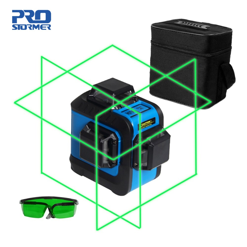 Prostormer 12 Lignes 3D Laser Niveaux Professionnel nivel un laser 360 graus Horizontal Vertical Et Horizontal Rouge Faisceau Laser Ligne
