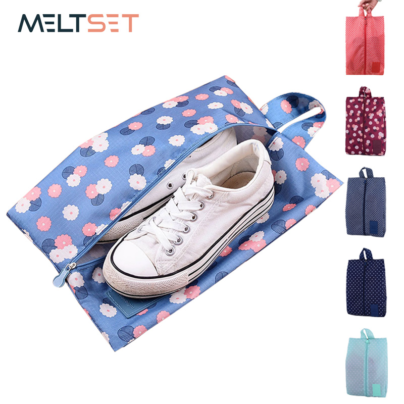 Portable Waterproof Travel Shoe Bag Nylon Storage Bag Pouch Convenient Storage Organizer Shoes Sorting Zipper Tote 6 Patterns Shoe Bags
