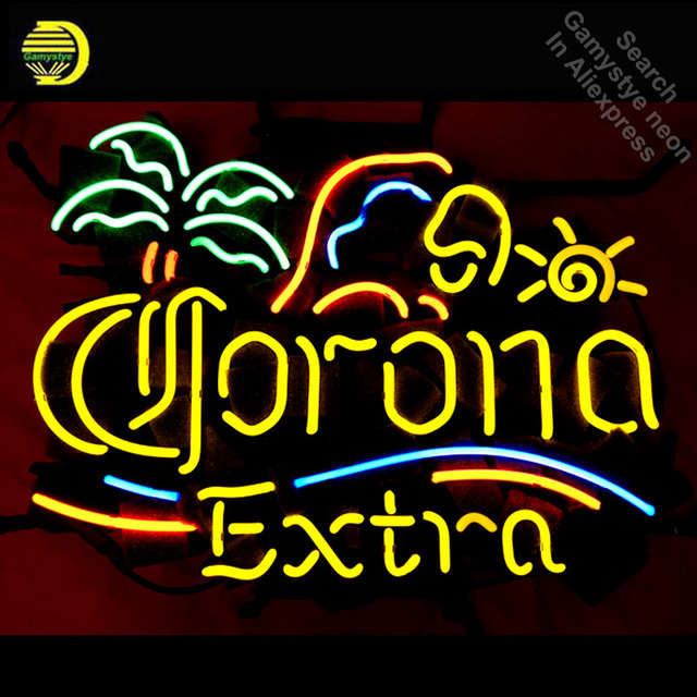 Neon Sign for Corona Extra Palm and Parrot  Neon Bulb sign handcraft neon signboard wall icons neon wall lights anuncio luminos