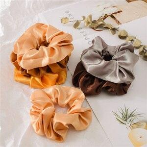 Image 4 - 新しい 35 ピース/セットサテン髪 Scrunchies パック女性弾性ヘアバンド女の子帽子絹のようなポニーテールホルダー固体ヘアアクセサリー