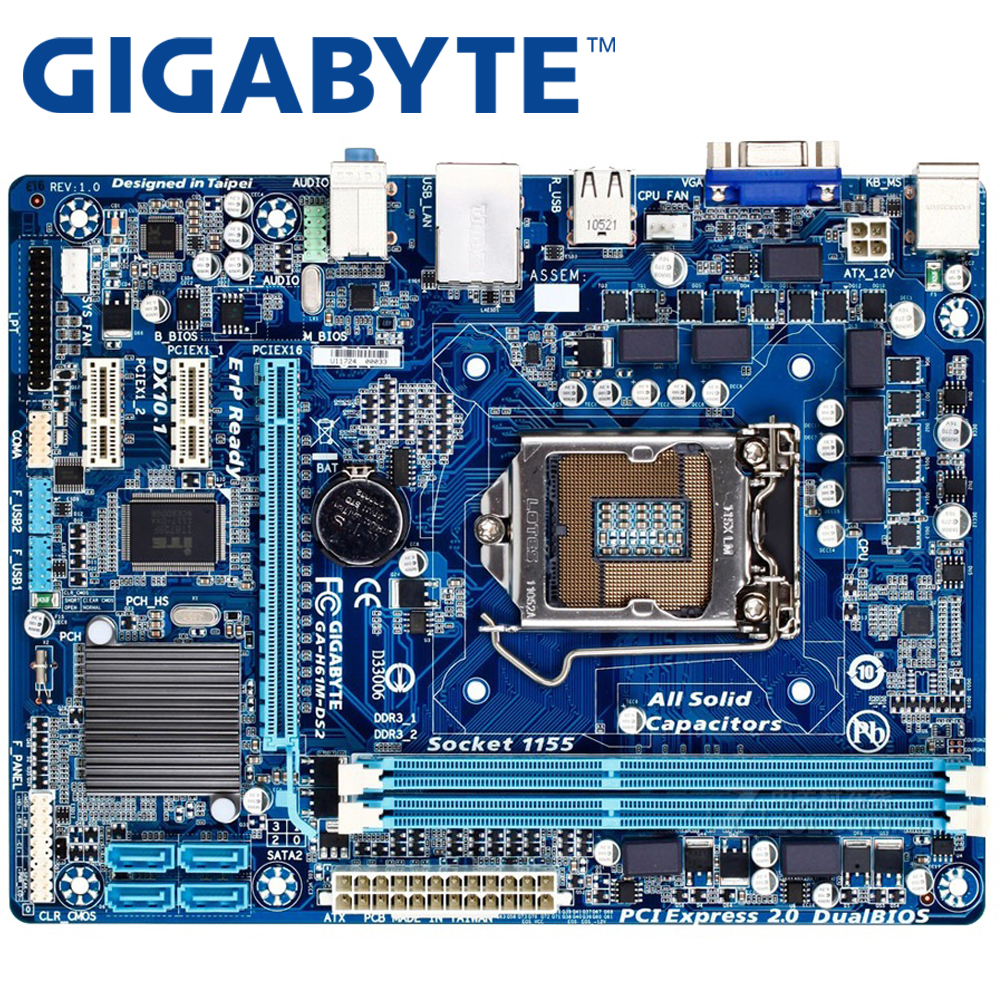 GIGABYTE GA-H61M-DS2 Desktop Motherboard H61 Socket LGA 1155 i3 i5 i7 DDR3 16G uATX UEFI BIOS Original H61M-DS2 Used Mainboard original used desktop motherboard for asus m4a88t m a88 support socket am3 4 ddr3 support 16g 6 sata2 uatx