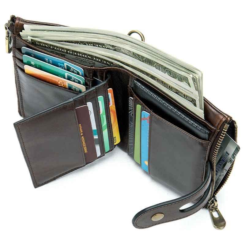 Pria Asli Kulit Bifold Pendek Dompet RFID Blocking Koin Dompet ID Pemegang Kartu Kredit dengan Anti-Pencurian Rantai