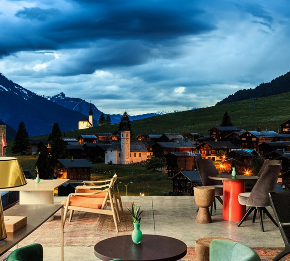 Most Inspiring Wallpaper Mountain Bedroom - Switzerland-Houses-Mountains-Evening-Sky-city-photo-Building-wallpaper-living-room-TV-wall-bedroom-restaurant-bar  You Should Have_397777.jpg