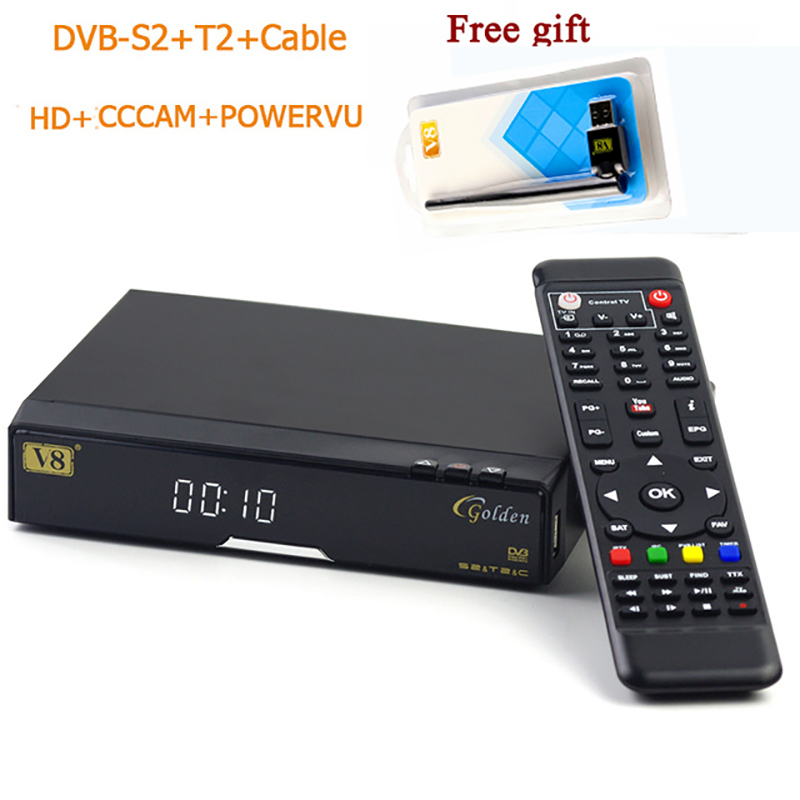 Original v8 golden+powervu IPTV box v8 golden dvb t2/s2/c upgraded V8 Pro Combo with 1 free usb wifi DMYCO Satellite Receiver стоимость