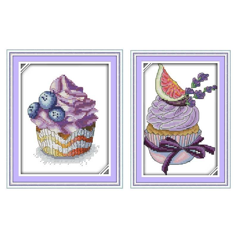 Arándanos pastel de la lavanda contados cross stitch 11ct 14ct Cruz ...
