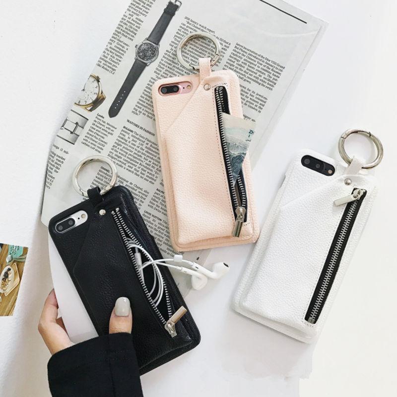 Mode Litchi PU En Cuir Zippée Portefeuille Cas pour iPhone X 7 7 plus pour iPhone 6 6 plus 6 s 6 splus 8 8 Plus Dame style étui En Cuir