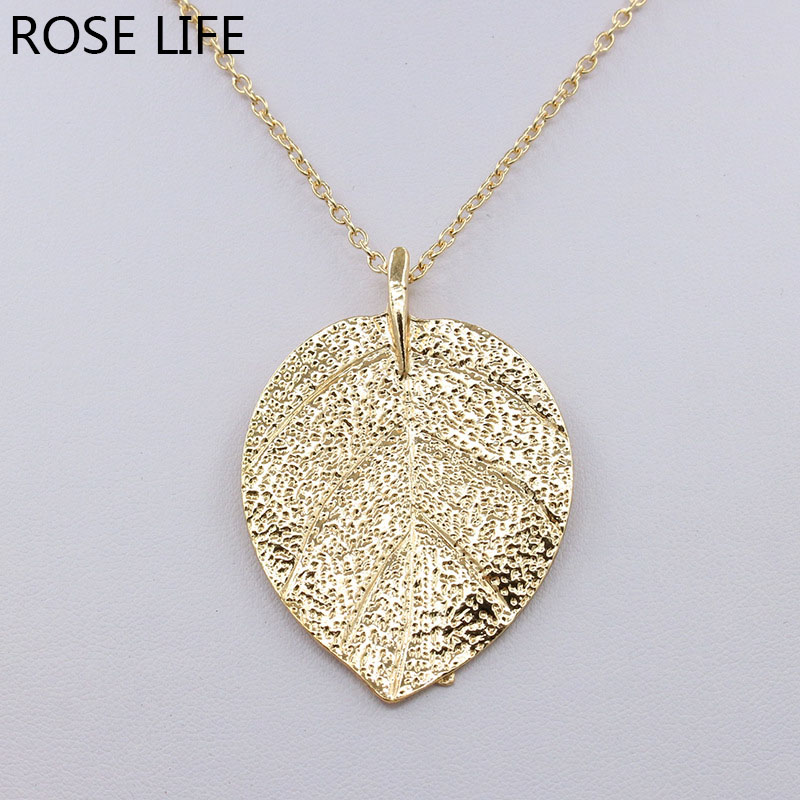 ROSE LIFE 2017 Europe And The United States Leaves Necklace Noble Retro Sweater Chain Long Necklace Jewelry