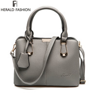 Herald Fashion PU Leather Top Handle Women Handbag Solid Ladies Lether Shoulder Bag Casual Large Capacity