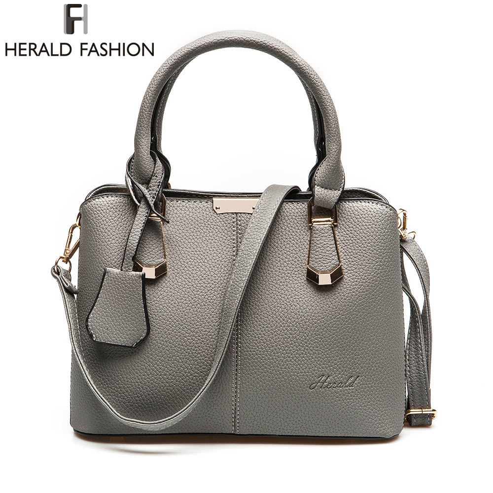 Herald Fashion PU Leather Top-handle Women Handbag Solid Ladies Lether Shoulder Bag Casual Large Capacity Tote Crossbody Bags simply classic fashion leather women handbag shoulder bags ladies large capacity ladies shopping bag bolsa