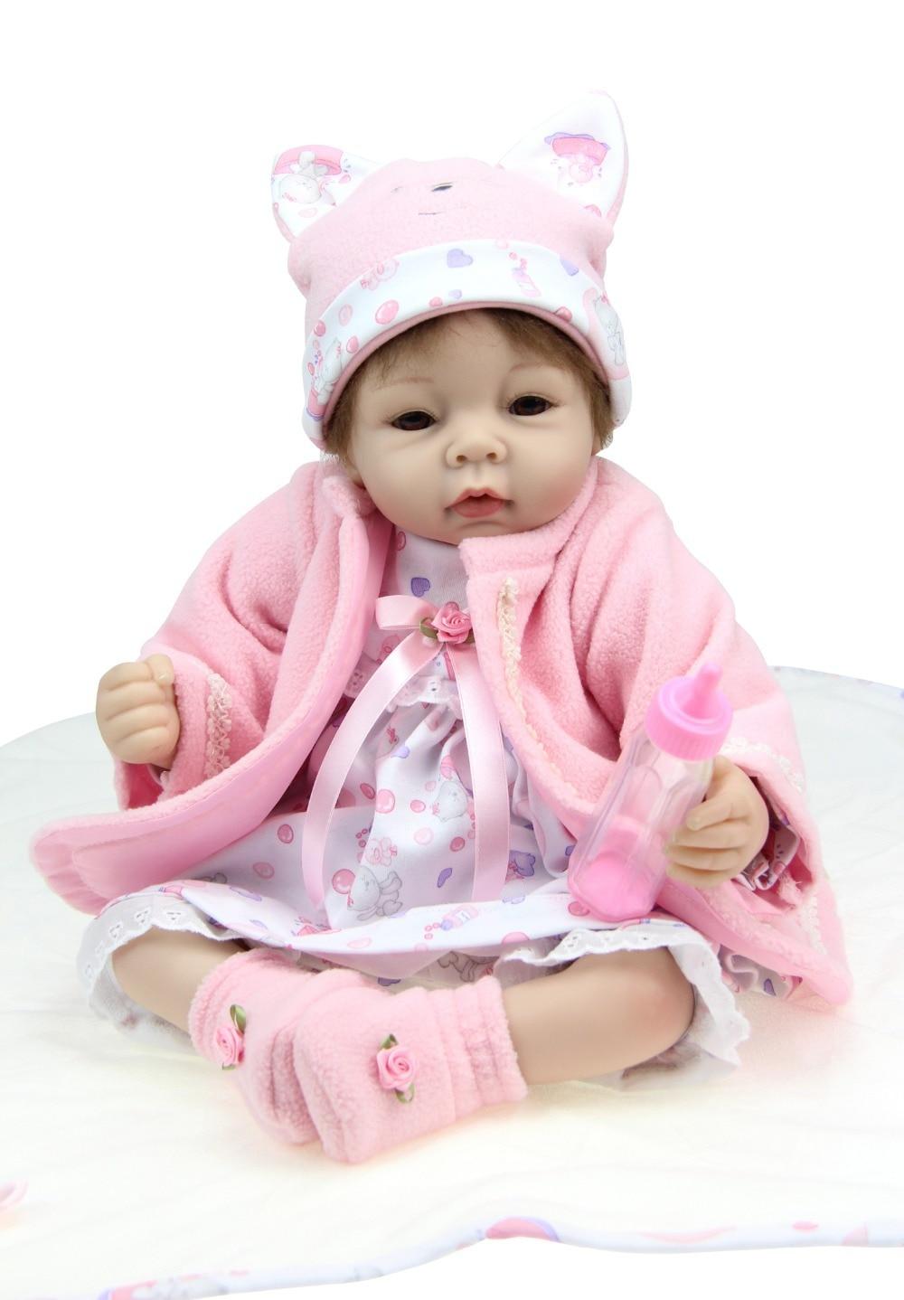 ФОТО fashion 22 inch silicone vinyl baby dolls reborn handmade kids hobbies princess dolls toys for children birthday gift