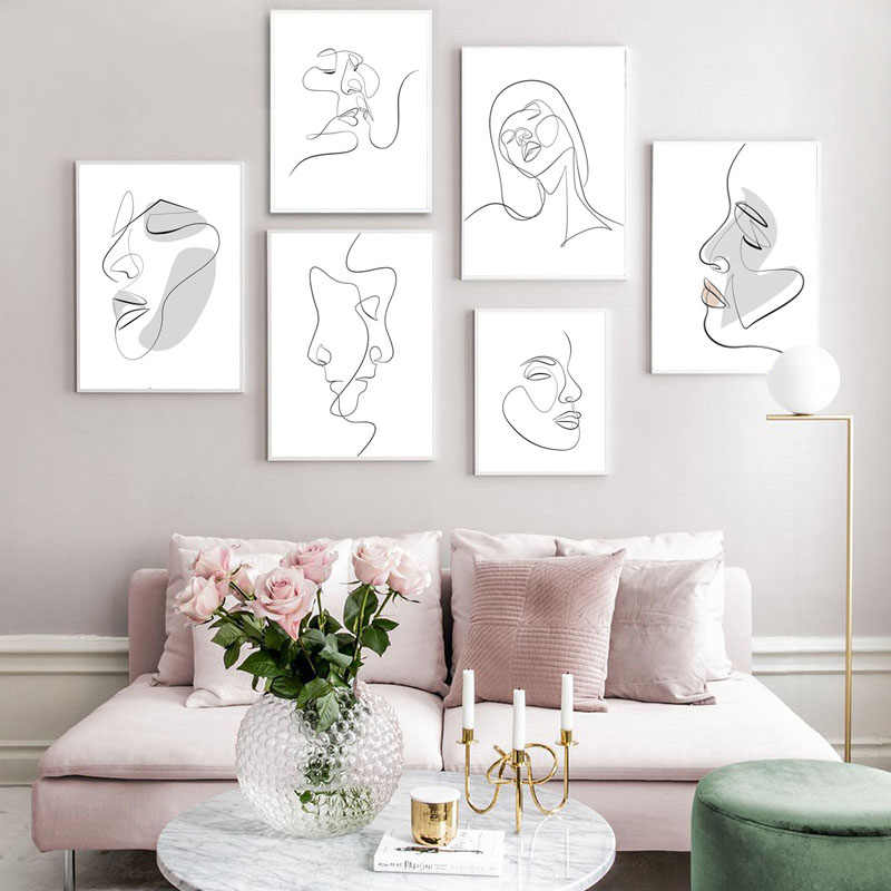 Canvas Print Picture Wall Art Passion Face Sketch One Line Nordic Paintings Home Decoration Cuadros Module Poster Kids Bedroom