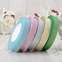 ¡ Nuevo!! 5 rollos de 15mm ancho glitter cinta de regalo cinta de embalaje accesorios de costura de la cinta del banquete de boda de Navidad adorno