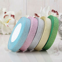 New 4 Rolls 15mm Width Glitter Ribbon Gift Packing Belt Wedding Party Christmas Embellishment Ribbon Sewing