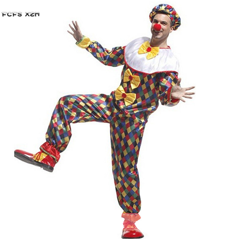 Halloween Droll Joker Costumes For Men Circus Clown Cosplays Chirstmas Carnival Purim parade Stage play Masquerade Party dress