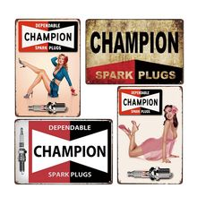 Spark Plugs Poster Vintage Metal Signs Plaques Garage Decor Auto Repair Parts Shop Decoration Club Wall Retro Decorative 20x30cm(China)