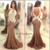 Two Colors Patchwork Elegant Cap Sleeve Lace Mermaid Prom Dress Evening Gowns Vestido De Renda 2015