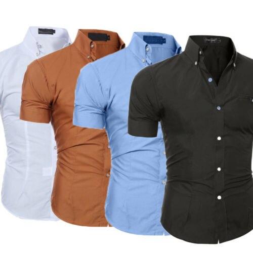 Стильная мужская футболка Slim Fit отложным воротником с коротким рукавом мышцы повседневные топы рубашки