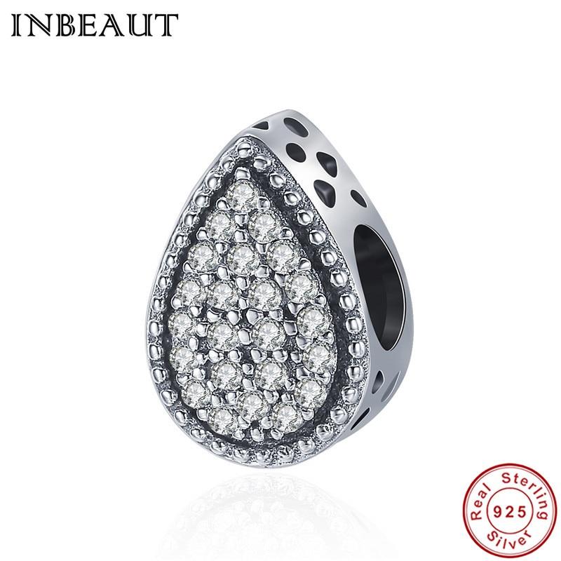 INBEAUT Trendy 925 Sterling Silver Clear CZ Eternal Love Tears Droplet Beads fit Pandora Charm Bracelet Fine Jewelry